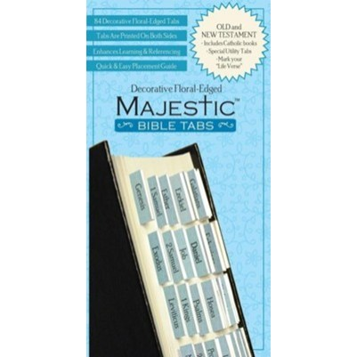 Majestic Bible Tabs Floral Blue