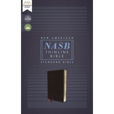NASB Thinline Bonded Leather Black Red Letter Edit
