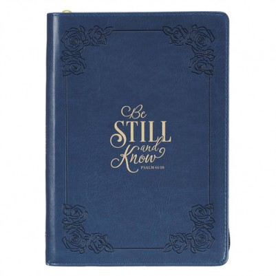 Be Still and Know Navy Classic Zipped Journal