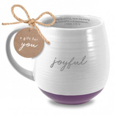 Joyful Ceramic White 1 Thessalonians 5:16/18