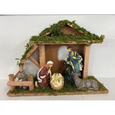 Nativity 5 pieces in Stable 25cm