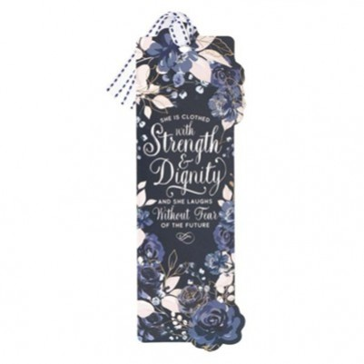 Pagemarker Strength & Dignity Navy Floral with Ribbon