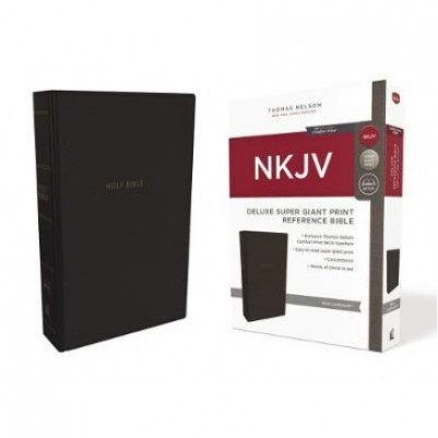 NKJV Super Giant Print Deluxe Reference Brown Red Letter