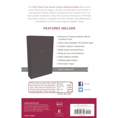 NKJV Giant Print Centre Column Black Comfort Print